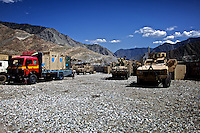 Part of the convoy of US ARMY Specialist Kahaya Komar,  stopped at an american base during  a day long logistical mission between Jalalabad and The Pech Valley in Kunar province, Afghanistan on Wednesday  May 1, 2010...Specialist Komar is a radio operator and assistant gunner on logistical convoys with Destro Platoon, Fury Company, 2nd Battalion, 4th Brigade, Task Force Mountain Warrior, 4th Infantry Division..