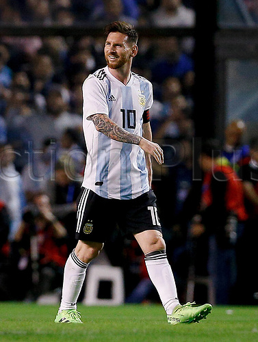 29.05.2018: ARGENTINA, Lionel Messi celebrates after scoring a penalty in a friendly match between Argentina and Haiti, held at the Alberto Jose Armando Stadium, known as La Bombonera, located in the La Boca neighborhood in the capital of Buenos Aires.