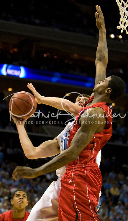 North Carolina's Tyler Hansbrough shoots against Louisville against during the NCAA Basketball Men's East Regional at Time Warner Cable Arena in Charlotte, NC.
