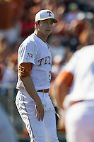 Texas Longhorns pitcher Corey Knebel #29 in action against the Oklahoma Sooners in the NCAA baseball game on April 6, 2013 at UFCU DischFalk Field in Austin, Texas. The Longhorns defeated the rival Sooners 1-0. (Andrew Woolley/Four Seam Images).