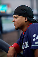 Binghamton Rumble Ponies right fielder Jhoan Urena (24) in the dugout before a game against the Portland Sea Dogs on August 31, 2018 at NYSEG Stadium in Binghamton, New York.  Portland defeated Binghamton 4-1.  (Mike Janes/Four Seam Images)