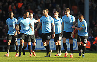 Southend United's Rob Kiernan (second right) celebrates scoring the opening goal with team-mates<br /> <br /> Photographer Kevin Barnes/CameraSport<br /> <br /> The EFL Sky Bet League One - Blackpool v Southend United - Saturday 9th March 2019 - Bloomfield Road - Blackpool<br /> <br /> World Copyright © 2019 CameraSport. All rights reserved. 43 Linden Ave. Countesthorpe. Leicester. England. LE8 5PG - Tel: +44 (0) 116 277 4147 - admin@camerasport.com - www.camerasport.com