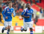 St Johnstone v Kilmarnock....20.10.12      SPL.Nigel Hasselbaink celebrates his goal with Muray Davidson.Picture by Graeme Hart..Copyright Perthshire Picture Agency.Tel: 01738 623350  Mobile: 07990 594431