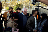Queens, New York<br /> Queensbridge Park<br /> October 19, 2019<br /> <br /> Senator Bernie Sanders backstage after his first major campaign rally since suffering from a heart attack earlier this month in Queensbridge Park. <br /> <br /> Congresswoman New York Rep. Alexandria Ocasio-Cortez endorses Sanders for US President at the rally.<br /> <br /> An estimated 26,000 people attended the event according to the Sanders campaign.
