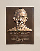 [PLAQUE]<br /> Barack Obama '83<br /> 44th President of the United States<br /> As an Occidental student, he made his first political speech - - a protest against apartheid - - on this plaza February 18, 1981<br /> A staircase inscribed with a Barack Obama '83 speech, next to the plaza of the Arthur G. Coons (AGC) Administrative Center, where Obama gave his first public political speech during an anti-apartheid rally on Feb. 18, 1981.<br /> (Photo by Marc Campos, Occidental College Photographer)