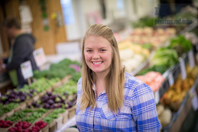 March 4, 2017; Mendoza College of Business student Arianna Rominski '17 at the South Bend Farmer's Market (Photo by Matt Cashore/University of Notre Dame)