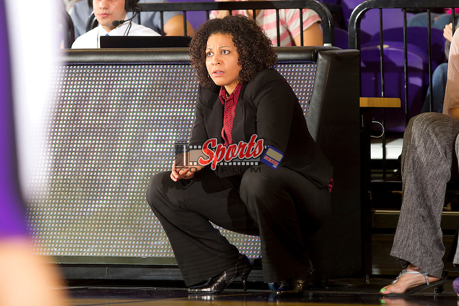 High Point Panthers head coach DeUnna Hendrix watches the action from the sidelines during the game against the East Tennessee State Buccaneers at Millis Athletic Center on November 10, 2012 in High Point, North Carolina.  The Panthers defeated the Buccaneers 85-76.   (Brian Westerholt/Sports On Film)