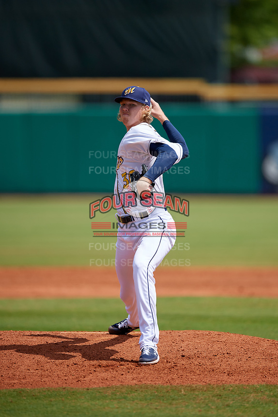 Montgomery Biscuits relief pitcher Sam McWilliams (36) during a Southern League game against the Mobile BayBears on May 2, 2019 at Riverwalk Stadium in Montgomery, Alabama.  Mobile defeated Montgomery 3-1.  (Mike Janes/Four Seam Images)