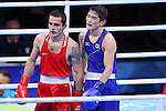 Aram Avagyan (ARM), Arashi Morisaka (JPN), <br /> AUGUST 10, 2016 - Boxing : <br /> Men's Bantam (56kg) <br /> at Riocentro - Pavilion 6 <br /> during the Rio 2016 Olympic Games in Rio de Janeiro, Brazil. <br /> (Photo by YUTAKA/AFLO SPORT)