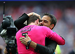 Huddersfield's David Wagner celebrates promotion with Danny Ward during during the Championship Play-Off Final match at Wembley Stadium, London. Picture date: May 29th, 2017. Pic credit should read: David Klein/Sportimage