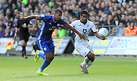 Cardiff City's Lee Peltier battles with Swansea City's Wayne Routledge<br /> <br /> Photographer Ian Cook/CameraSport<br /> <br /> The EFL Sky Bet Championship - Swansea City v Cardiff City - Sunday 27th October 2019 - Liberty Stadium - Swansea<br /> <br /> World Copyright © 2019 CameraSport. All rights reserved. 43 Linden Ave. Countesthorpe. Leicester. England. LE8 5PG - Tel: +44 (0) 116 277 4147 - admin@camerasport.com - www.camerasport.com