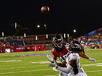 Canton, Ohio - August 1, 2019: Denver Broncos wide receiver Nick Williams #15 makes a catch during a pre-season game against the Atlanta Falcons at the Tom Benson Hall of Fame stadium in Canton, Ohio August 1, 2019. This game marks start of the 100th season of the NFL. (Photo by Don Baxter/Media Images International)