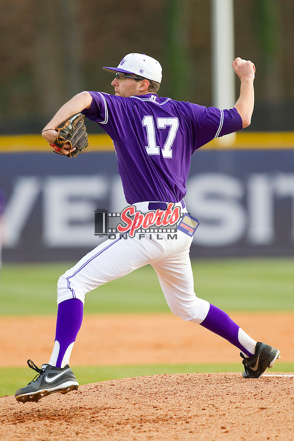 Starting pitcher Zach Haile (17) of the High Point Panthers in action against the Charlotte 49ers at Willard Stadium on February 20, 2013 in High Point, North Carolina.  The 49ers defeated the Panthers 12-3.  (Brian Westerholt/Sports On Film)