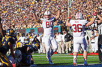 BERKELEY, CA - NOVEMBER 22, 2014: Eric Cotton celebrates a touchdown during Stanford's 117th Big Game against Cal. The Cardinal defeated the Bears 38-17.