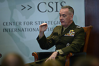 Washington, DC - March 29, 2016:  U.S. Marine Corps General Joseph Dunford, 19th Chairman of the Joint Chiefs of Staff, speaks on the subject of global security at the Center for Strategic and International Studies in the District of Columbia, March 29, 2016.  (Photo by Don Baxter/Media Images International)