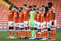 Blackpool players observe a minutes silence before kick-off<br /> <br /> Photographer Rich Linley/CameraSport<br /> <br /> The EFL Sky Bet League One - Blackpool v Barnsley - Saturday 22nd December 2018 - Bloomfield Road - Blackpool<br /> <br /> World Copyright &copy; 2018 CameraSport. All rights reserved. 43 Linden Ave. Countesthorpe. Leicester. England. LE8 5PG - Tel: +44 (0) 116 277 4147 - admin@camerasport.com - www.camerasport.com