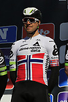 Edvald Boasson Hagen (NOR) Team Dimension Data on stage at sign on before the start of Gent-Wevelgem in Flanders Fields 2017, running 249km from Denieze to Wevelgem, Flanders, Belgium. 26th March 2017.<br /> Picture: Eoin Clarke | Cyclefile<br /> <br /> <br /> All photos usage must carry mandatory copyright credit (&copy; Cyclefile | Eoin Clarke)