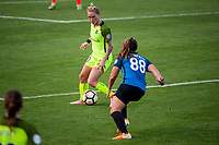 Kansas City, MO - Saturday June 17, 2017: Jess Fishlock, Alexa Newfield during a regular season National Women's Soccer League (NWSL) match between FC Kansas City and the Seattle Reign FC at Children's Mercy Victory Field.