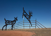 """Deer Crossing,"" one of the metal sculptures on the Enchanted Highway in western North Dakota."