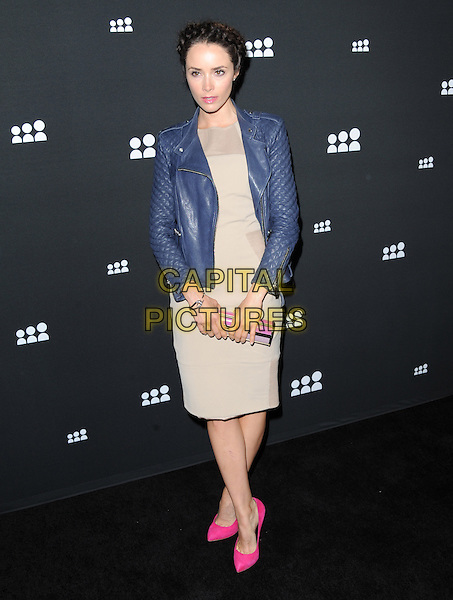 Abigail Spencer<br /> The Myspace Event held at The El Rey Theatre in Los Angeles, California, USA.<br /> June 12th, 2013   <br /> full length blue leather jacket beige dress pink shoes neon fluorescent  <br /> CAP/DVS<br /> &copy;DVS/Capital Pictures