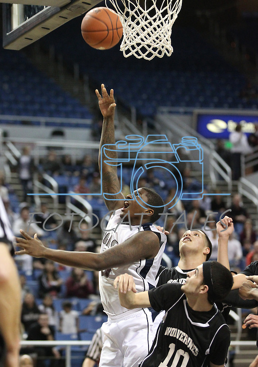 Agassi Prep's Darryl Green shoots in the NIAA 2A State Basketball Championship game between West Wendover and Agassi Prep high schools at Lawlor Events Center, in Reno, Nev, on Saturday, Feb. 25, 2012. .Photo by Cathleen Allison