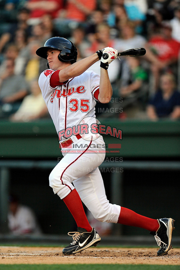 First baseman Jantzen Witte (35) of the Greenville Drive bats in a game against the Lexington Legends on Thursday, April 24, 2014, at Fluor Field at the West End in Greenville, South Carolina. Greenville won, 9-4. (Tom Priddy/Four Seam Images)