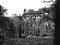 Orange and Alexandria Railroad.  Cars and military bridge.  Mathew Brady Collection.  (Army)<br /> Exact Date Shot Unknown<br /> NARA FILE #:  111-B-185<br /> WAR &amp; CONFLICT BOOK #:  209