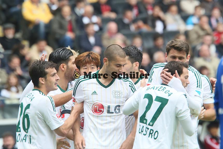 Torjubel Bayer beim 0:1 - Eintracht Frankfurt vs. Bayer Leverkusen, Commerzbank Arena