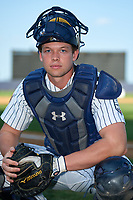 Staten Island Yankees catcher Josh Breaux (28) poses for a photo after a game against the Lowell Spinners on August 22, 2018 at Richmond County Bank Ballpark in Staten Island, New York.  Staten Island defeated Lowell 10-4.  (Mike Janes/Four Seam Images)