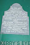 Plaque Bi Centenary Milk Market Lane, Tralee...
