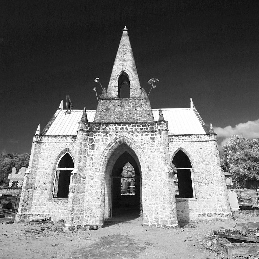 Abandoned church across from the Sandridge Beach Hotel near Speightstown.St. James Parish.Barbados