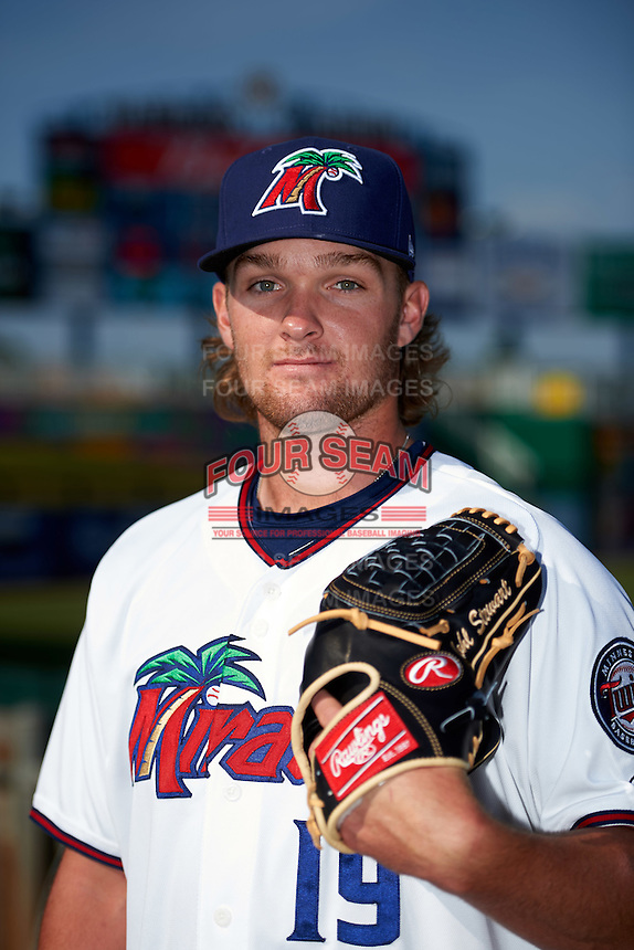 Fort Myers Miracle pitcher Kohl Stewart (19) poses for a photo before a game against the Brevard County Manatees on April 13, 2016 at Hammond Stadium in Fort Myers, Florida.  Fort Myers defeated Brevard County 3-0.  (Mike Janes/Four Seam Images)