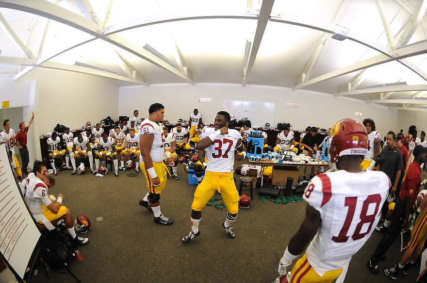 USC Trojans during game at Stanford Cardinal Saturday, September 6, 2014 in Palo Alto,California. The Trojans defeated the Cardinal 13-10. Photo by © Jon SooHoo/ 2014