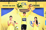 Race leader Chris Froome (GBR) Team Sky retains the Yellow Jersey at the end of  Stage 16 of the 104th edition of the Tour de France 2017, running 165km from Le Puy-en-Velay to Romans-sur-Isere, France. 18th July 2017.<br /> Picture: ASO/Alex Broadway | Cyclefile<br /> <br /> <br /> All photos usage must carry mandatory copyright credit (&copy; Cyclefile | ASO/Alex Broadway)