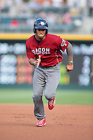 Nick Williams (4) of the Lehigh Valley Iron Pigs takes off for third base against the Charlotte Knights at BB&T BallPark on June 3, 2016 in Charlotte, North Carolina.  The Iron Pigs defeated the Knights 6-4.  (Brian Westerholt/Four Seam Images)