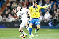 Real Madrid's Daniel Carvajal (l) and UD Las Palmas' Jese Rodriguez during La Liga match. March 1,2017. (ALTERPHOTOS/Acero) /NORTEPHOTOmex