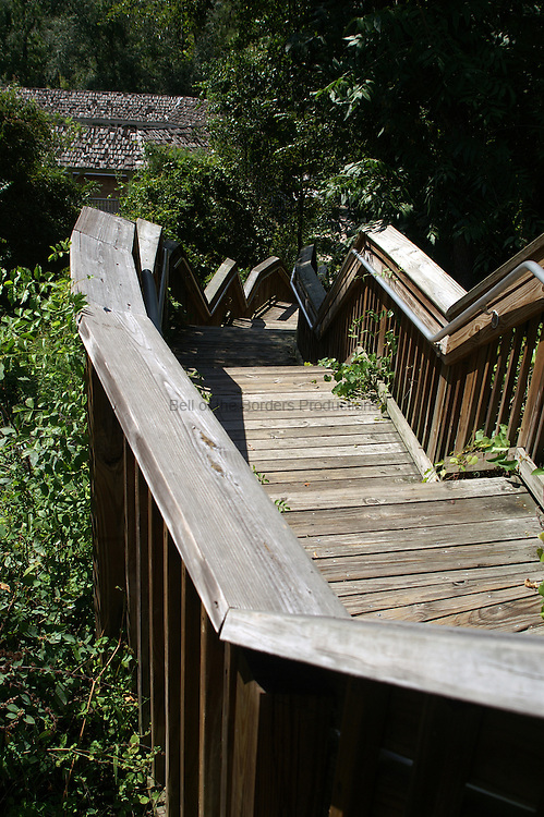 Wooden stairs lead down to White Springs.