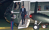 United States President Barack Obama returns to the White House in Washington, DC after a trip to New Jersey and New York on Monday, November 2, 2015.<br /> Credit: Dennis Brack / Pool via CNP