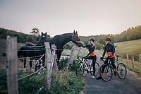 pleasant encounter while gravel riding in the Eifel National Park / High Venn Nature Park in North Rhine-Westphalia, Germany<br /> <br /> over the Dirty Boar Gravel Ride parcours