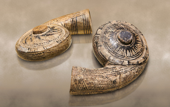 Two decorated terra cotta seashell shaped vessels found in the house of Assyrian trader, Elamma, at the second level of the Karum of Kultepe. - 19th to 17th century BC - Kültepe Kanesh - Museum of Anatolian Civilisations, Ankara, Turkey.  Against a warn art background.