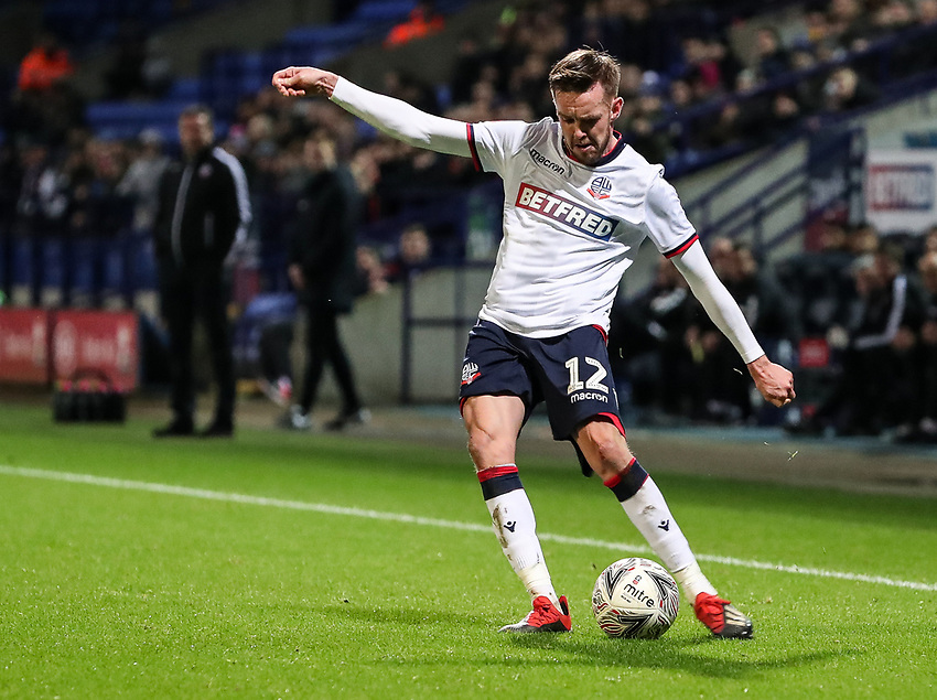 Bolton Wanderers' Craig Noone crosses<br /> <br /> Photographer Andrew Kearns/CameraSport<br /> <br /> Emirates FA Cup Third Round - Bolton Wanderers v Walsall - Saturday 5th January 2019 - University of Bolton Stadium - Bolton<br />  <br /> World Copyright © 2019 CameraSport. All rights reserved. 43 Linden Ave. Countesthorpe. Leicester. England. LE8 5PG - Tel: +44 (0) 116 277 4147 - admin@camerasport.com - www.camerasport.com