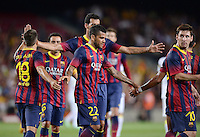 FUSSBALL  INTERNATIONAL   SAISON 2011/2012   02.08.2013 Gamper Cup 2013 FC Barcelona - FC Santos TEAMJUBEL Barca; Jordi Alba, Sergio Busquets (verdeckt),  Daniel Alves und Lionel Messi (v.li.)