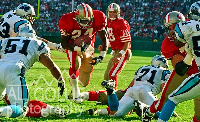 San Francisco 49ers vs. Carolina Panthers at Candlestick Park Sunday, November 5, 1995.  Panthers beat 49ers  13-7.  San Francisco 49ers running back Jamal Willis (24) find hole to make run.