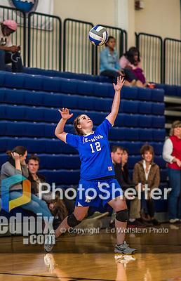 27 October 2013: Yeshiva University Maccabee Outside Hitter Sarit Zukowsky, a Senior from Dayton, Ohio, in action against the College of Mount Saint Vincent Dolphins at the College of Mount Saint Vincent in Riverdale, NY. The Dolphins defeated the Maccabees 3-0 in NCAA women's volleyball play. Mandatory Credit: Ed Wolfstein Photo *** RAW (NEF) Image File Available ***