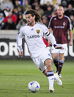 25 October 08: Real midfielder Kyle Beckerman (5) advances the ball against the Rapids. Real Salt Lake tied the Colorado Rapids at Dick's Sporting Goods Park in Commerce City, Colorado. The tie advanced Real Salt Lake to the playoffs.