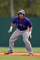 Kentucky Wesleyan Panthers outfielder Johnathan Eberhardt (3) during a game against Slippery Rock University on March 9, 2015 at Jack Russell Stadium in Clearwater, Florida.  Kentucky Wesleyan defeated Slippery Rock 5-4.  (Mike Janes/Four Seam Images)