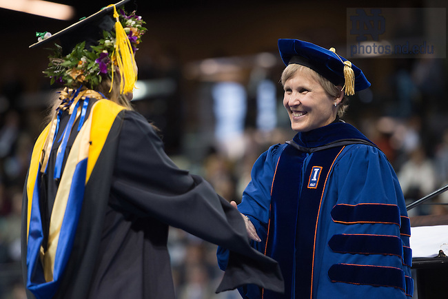 May 14, 2016; Graduate School Dean Laura Carlson at the Grad School Commencement ceremony, 2016. (Photo by Matt Cashore/University of Notre Dame)