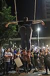 Israel, Tel Aviv,  the Housing Protest demonstration, a street performer