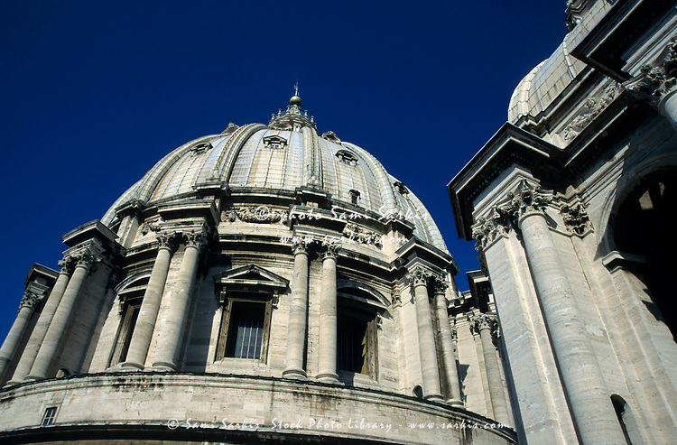 Columns on the dome of St Peter's Basilica, Vatican City, Rome, Italy.