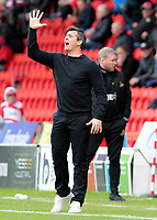 Fleetwood Town manager Joey Barton shouts instructions to his team from the touchline<br /> <br /> Photographer David Shipman/CameraSport<br /> <br /> The EFL Sky Bet League One - Doncaster Rovers v Fleetwood Town - Saturday 6th October 2018 - Keepmoat Stadium - Doncaster<br /> <br /> World Copyright © 2018 CameraSport. All rights reserved. 43 Linden Ave. Countesthorpe. Leicester. England. LE8 5PG - Tel: +44 (0) 116 277 4147 - admin@camerasport.com - www.camerasport.com
